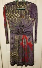 Etro Silk Dress Sz 44 Purple Paisley Print Gathered Waist V-Neck Long Sleeve