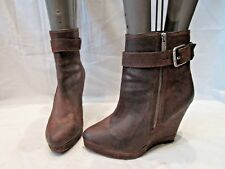MICHAEL KORS BROWN SUEDE WEDGE ZIP UP ANKLE BOOTS UK 7.5 US 10 (1564)