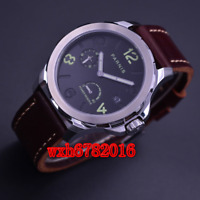 44mm Parnis black dial Sapphire crystal Automatic  mechanical Men Watch Leather