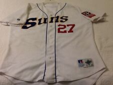 2001 Jacksonville Suns game worn, game used home white jersey, #27, SIMON
