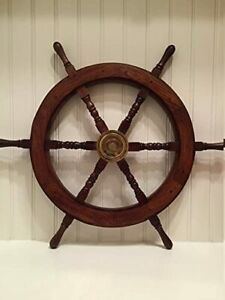 24 Inch Wooden Ship Wheel Vintage Nautical Home Wall Decor Handcrafted Gift