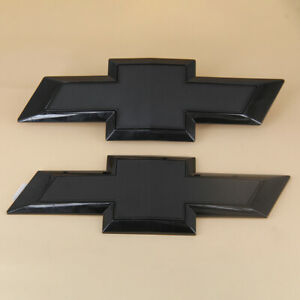Front Rear 2014-2015 Chevy SILVERADO 1500 Custom Gloss Black Bowtie Emblems