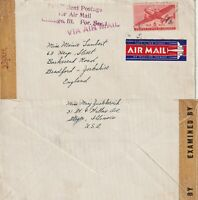 US 1942 WARTIME FLIGHT FLOWN AIR MAIL CENSORED COVER CHICAGO TO BRADFORD ENGLAND