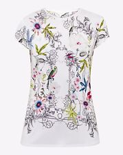 Ted Baker London Ivory Hazelto Passion Flower Fitted Tee Top Size 4 (US 10) $79