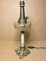 Belle lampe à pétrole onyx / bronze / réservoir cristal taillé / XIXème