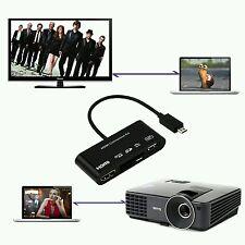 Nuevo 5in1 Micro USB MHL a HDMI HDTV Adaptador + USB OTG Lector de Tarjetas SD para equipos portátiles
