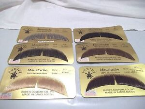 Mustache Human Hair Theatrical Professional Rubies 2015 Grey Brown Blonde Black