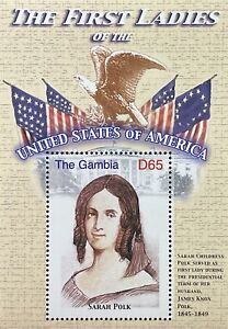 GAMBIA FIRST LADIES OF THE USA STAMPS SS 2007 MNH SARAH POLK WIFE OF JAMES POLK