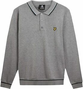 Lyle & Scott Knitted Mens Long Sleeve Polo Shirt XL
