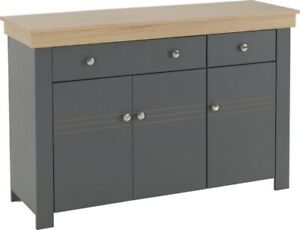 Montreal 3 Door 2 Drawer Sideboard in Grey and Oak Effect