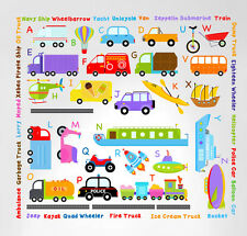 Cars Transportation Alphabet Peel and Stick Wall Nursery Kids Educational Decals