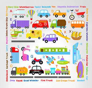 Cars Transportation Alphabet Peel and Stick Wall Nursery Kids Educational Decals