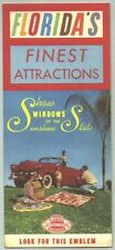1950s Florida Attractions Travel Brochure /1953 Chevy Convertible on cover