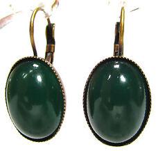 SoHo® Ohrhänger Ohrringe vintage bohemia Glas grün oval jadegrün altgold bronze