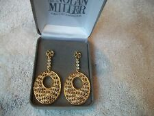 NOLAN MILLER Signed Earrings Exotic Animal Print Brown & Clear Austrian CRYSTALS