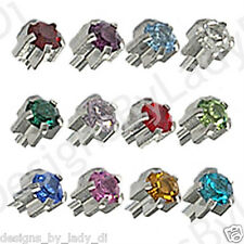 12 Pairs MAXI 5mm Ear Piercing Earrings Silver Pronged Stud Stainless Birthstone