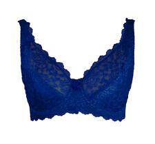 Lingerie femme soutien gorge bonnet C bleu à armatures décolleté triangle 95C