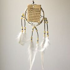 NEW SMALL CREAM AND SILVER DREAM CATCHER HANGING MOBILE NATIVE AMERICAN