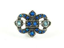 Pretty Blue Topaz  Opal Victorian Deco Sterling Filigree Fleur de Lis Ring 1002O