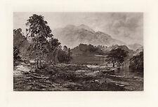 "1800s Horatio McCulloch Antique Print ""Silver Strand Scotland"" SIGNED Framed COA"