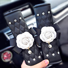 Camellia car seat belt covers Leather with flower seat belt cover shoulder pad
