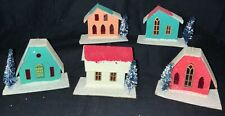 Five Vintage Japanese Cardboard Putz House Ornaments