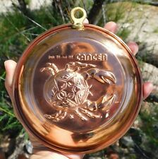 Vintage Solid Copper Zodiac Sign Cancer the Crab Wall Art Home and Office Decor