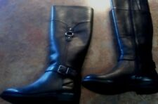 Women's Sperry Top-Sider Victory Ride Black Leather Tall Boots Size 6M New!!