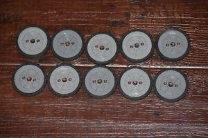 "Knex Wheels Lot 10 Small Tires 1.75"" Gray/Silver Hubs Pulleys K'nex Parts 1 3/4"""