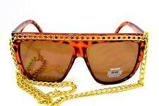 Essential Fashion Lady Gaga Retro 80's Fashion Beach Sunglasses Chain UV400 Tort