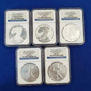 2011 5 pc  25th Anniv. Silver Eagle $1 Set NGC MS-70 & PF-70 Early Releases 9949