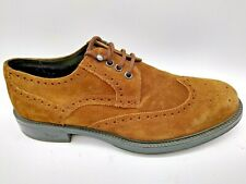 Bruno Magli Mens Leather Suede Brogues Brown Made in Italy UK 8.5 EU 42.5 US 9.5