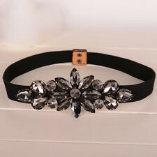 Classic Skinny Stretch Waistband Strap Black Crystal Flower Elastic Waist Belt