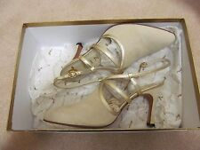 Boxed Gina gold leather and cream suede slingback shoes UK 3 wedding RRP £131