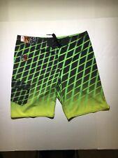 NWT!! Men's Hang Ten Board Short Black w/Lime Green Size 36