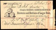 1883 Brandon & Kirmeyer Beer Letterhead Soda Leavenworth Kansas to Newton Bretch