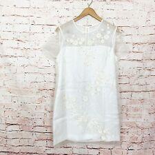 Ted Baker Findon Ivory Embellished Floral Dress Womens Size 4