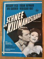 Schnee am Kilimandscharo (Kinoplakat '62) - Gregory Peck / Ava Gardner