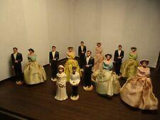 "Vintage 1940's Wedding Cake Topper CHALKWARE 4"" Tall Bride Groom Wedding Party"
