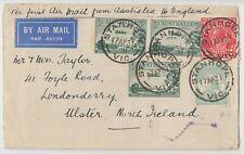 AUSTRALIA 1931 multi franked FFC *STANHOPE-LONDON* then onto ULSTER N. IRELAND