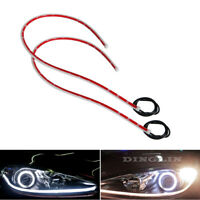 2x 60CM LED White Car DRL Daytime Running Lamp Strip Light Flexible Soft Tube