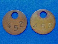 "Qty 2: Brass Coal Mine Miner Mining Tag Vintage Antique #452, 1-3/8"" Diameter 💎"