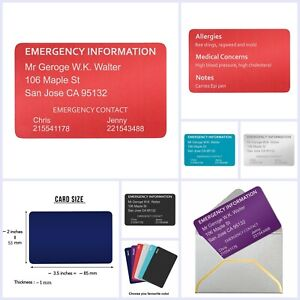 Aluminum Personalized Engraved Emergency Contact ICE Medical Id Wallet Card