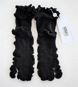 $220 New MAISON MARGIELA MM6 Black 100% WOOL Ribbed TABI Socks SIZE L