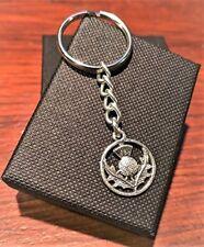 Handmade Silver Scottish Thistle Scotland Key Ring / Handbag Charm. Gift Boxed.