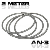 2M AN -3 3AN Braided Fuel Line Gas Hose Stainless Steel PTFE Brake Clutch Pipes