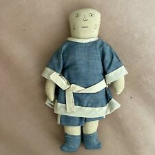 New listing Antique Early Primitive Cloth Folk Art Rag Doll Drawn Oil Painted Face 11�