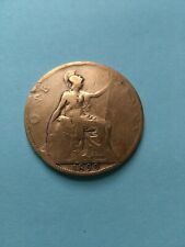 1899 UK Great Britain Large Penny Coin, Cleaned, No Reserve!
