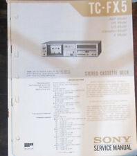 Sony TC-FX5 registratore a cassette Servizio di Riparazione Officina Manuale (copia originale)