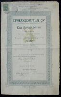 Gewerkschaft Flick Kux Schein Nr. 684, Düsseldorf 1899 unentwertet, kein Barov